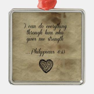 Bible Verse Philippians 4:13 Silver-Colored Square Decoration