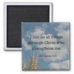 Bible Verse, Philippians 4:13 Square Magnet