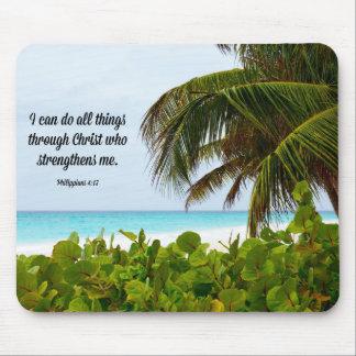 Bible Verse, Philippians 4:13, tropical Mouse Mat