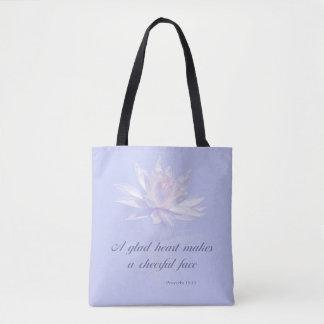 Bible Verse | Proverbs 15:13 | Lavender Floral Tote Bag