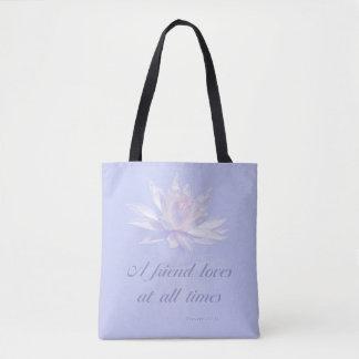 Bible Verse | Proverbs 17:17 | Lavender Floral Tote Bag