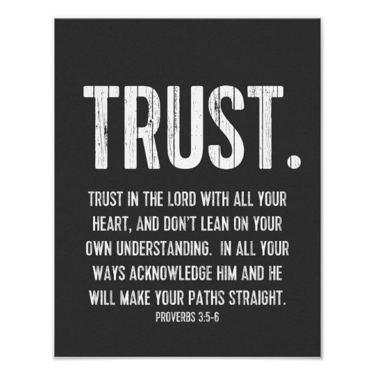 Bible Verse Proverbs 3:5-6, Black and White Poster