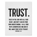 Bible Verse Proverbs 3:5-6 Christian Life Quote Poster