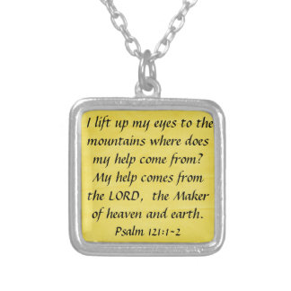 bible verse Psalm 121:1-2 Square Pendant Necklace