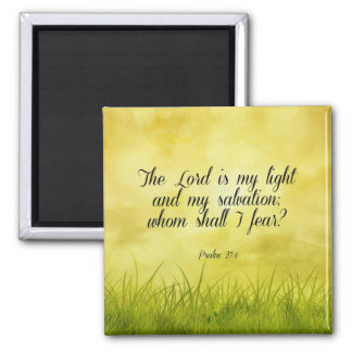 Bible verse, Psalm 27:1 Square Magnet