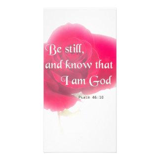 Bible Verse Psalm 46:10 Flower Card Or Invitation Custom Photo Card