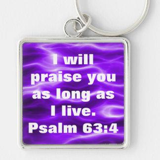 Bible verse Psalm 63:4 key chain