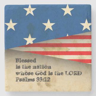 Bible Verse Psalms 33:12 Vintage USA Flag Coaster Stone Coaster