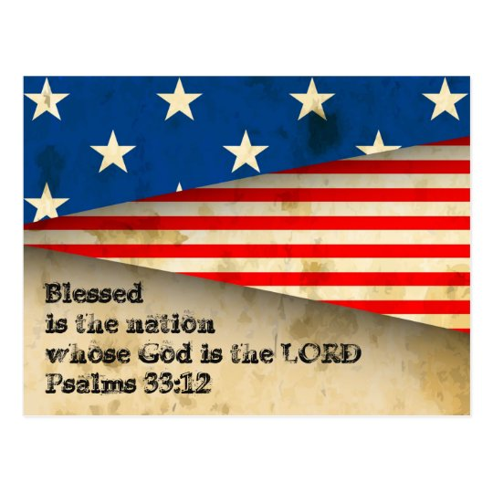 Bible Verse Psalms 33:12 Vintage USA Flag Postcard