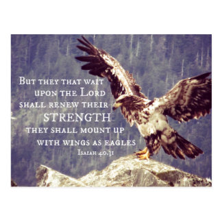 Bible Verse: Renew Strength, Wings as Eagles Post Cards