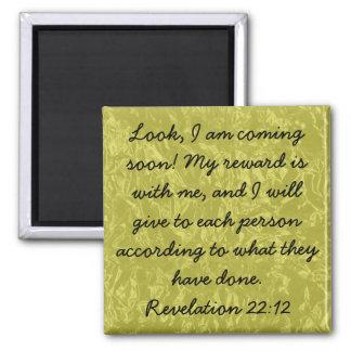 bible verse Revelation 22:12 Square Magnet