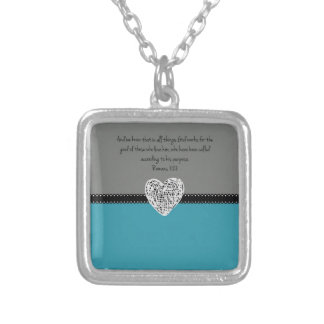 Bible Verse Romans 8:28 Retro Silver Plated Necklace