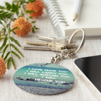 Bible Verse Scripture Basic Round Button Key Ring