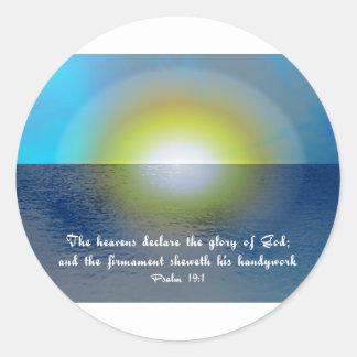 Bible Verse & Sunset Round Sticker