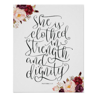 Bible verse wall art proverbs 31:25 calligraphy v2