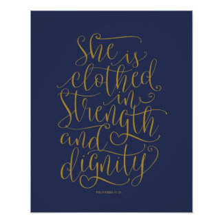 Bible verse wall art proverbs 31:25 calligraphy v5