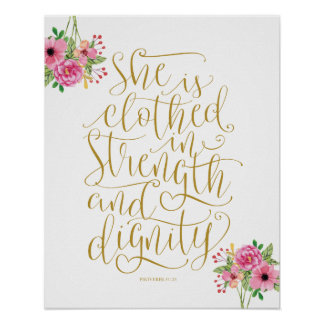 Bible verse wall art proverbs 31:25 calligraphy v7