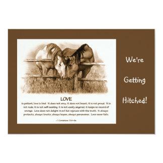 BIBLE VERSE: WEDDING INVITE: HORSES, PENCIL 13 CM X 18 CM INVITATION CARD