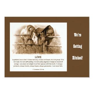 Bible Verse, Western WEDDING INVITE HORSES, PENCIL