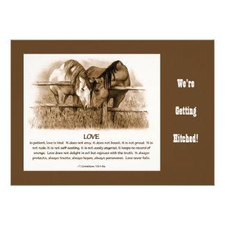 Bible Verse Western WEDDING INVITE HORSES PENCIL