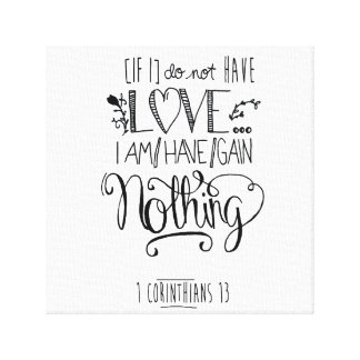 Bible Verse White Canvas - 1 Corinthians 13