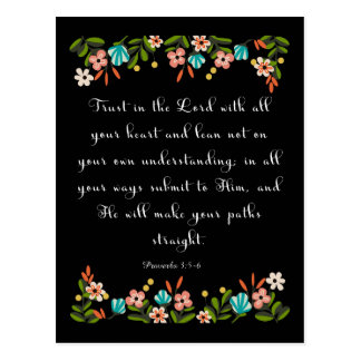 Bible Verses Art - Proverbs 3:5-6 Postcard