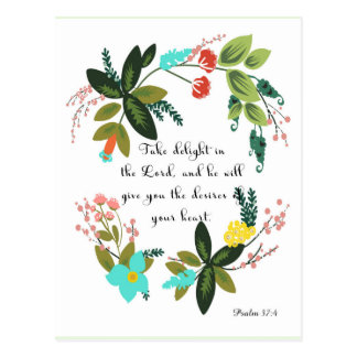 Bible Verses Art - Psalm 37:4 Postcard
