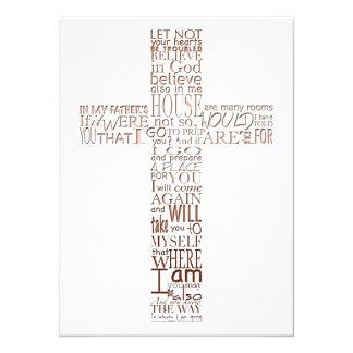Bible Verses from John 14 Copper Memorial Service 14 Cm X 19 Cm Invitation Card