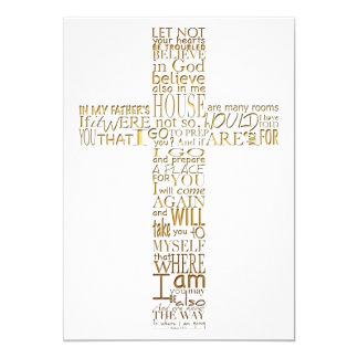 Bible Verses from John 14 Golden Memorial Service 13 Cm X 18 Cm Invitation Card