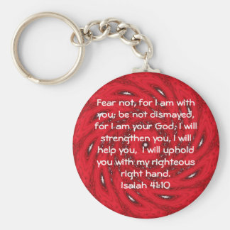 Bible Verses Inspirational Quote Isaiah 41:10 Basic Round Button Key Ring