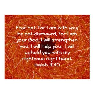 Bible Verses Inspirational Quote Isaiah 41:10 Postcard