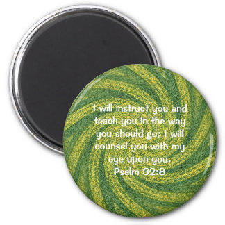 Bible Verses Inspirational Quote Psalm 32:8 6 Cm Round Magnet