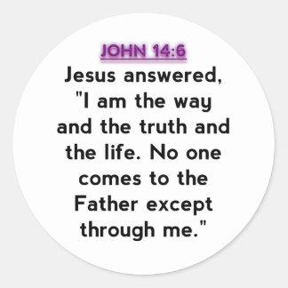 Bible Verses - John 14:6 Round Sticker
