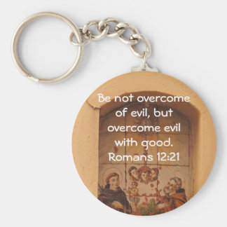 Bible Verses Love Quote Saying Romans 12:21 Basic Round Button Key Ring