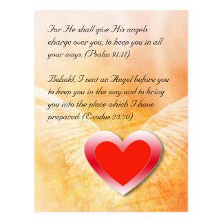 Bible verses red heart grunge design, postcard