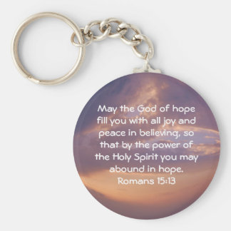 Bible Verses Uplifting Quote Romans 15:13 Basic Round Button Key Ring