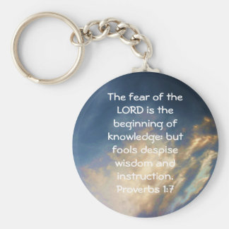Bible Verses Wisdom Quote Saying Proverbs 1:7 Basic Round Button Key Ring