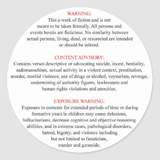 Bible Warning Label Round Sticker