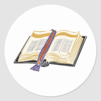 Bible with Woven Bookmark Round Sticker