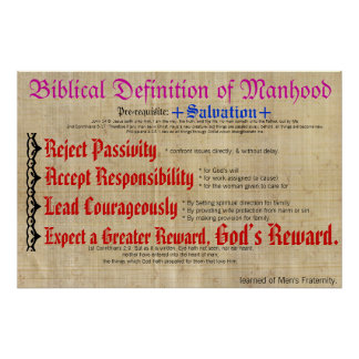 Biblical Definition of Manhood. Poster