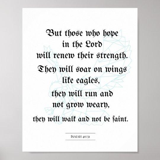 Biblical poster, Christian poster, Isaiah 40:31 Poster