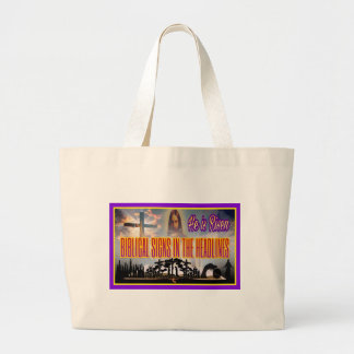 "Biblical Signs ""He is RISEN"" Large Tote Bag"