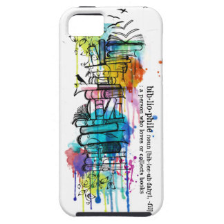 Bibliophyle Watercolor Stack of Books iPhone 5 Cover