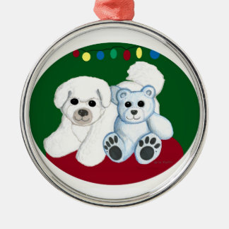 Bichon dog n bear Christmas Ornament