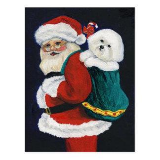 Bichon Frise and Santa Art Christmas Postcard