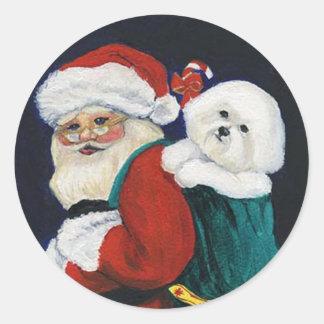 Bichon Frise and Santa Claus Art Sticker