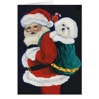 """Bichon Frise and Santa"" Dog Art Christmas Card"