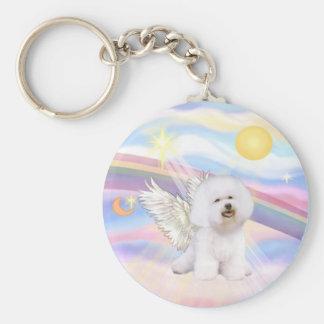 Bichon Frise Angel Basic Round Button Key Ring
