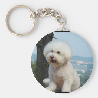 Bichon Frise Basic Round Button Key Ring