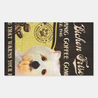 Bichon Frise Brand – Organic Coffee Company Rectangular Stickers